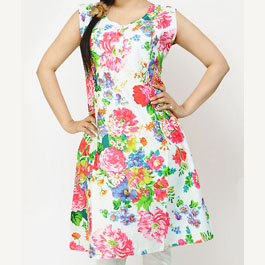 Sleeve Less Printed White Kurti