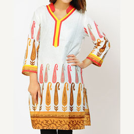 Full Sleeve Printed White Kurti