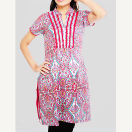Short Sleeve Printed Multi Kurti