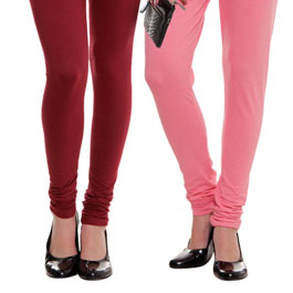 Supreme Quality Baby Pink-Deep Red Leggings