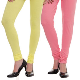 Supreme Quality Lime Yellow-Baby Pink Leggings