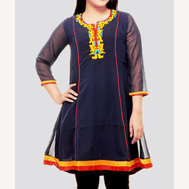 Embroidered Blue Kurti